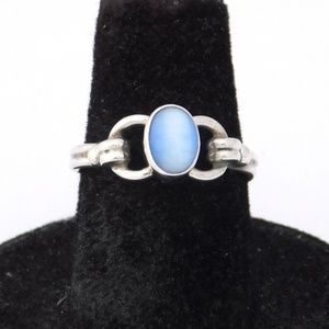 Vintage Ring 925 Silver Blue Cats Eye Size 5